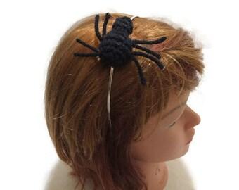 Spider Headband, Black Spider Amigurumi, Spider Cosplay, Halloween Headband, Metal Headband, Costume Headband, Spider Costume, Arachnid