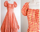 1940s 50s Novelty Fire Department buttons print peasant style cotton dress - S