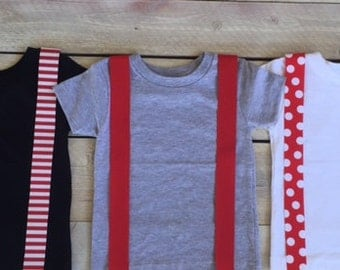 Red Iron On Suspenders Applique Stripes, Polka Dots, Infant, Kid, Adult