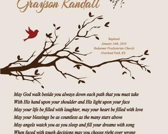 Baptism Gift for Boy-Godson Grandson Son Nephew Baptism Christening Dedication Gift-May God Walk Beside You Personalized Poetry Print