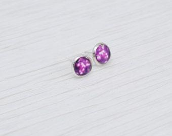 Heart Earrings, Tiny Heart Studs, Heart Bokeh Earrings, Bokeh Light Earrings, Purple Earrings, Bokeh Earrings, Heart Studs, Stud Earrings