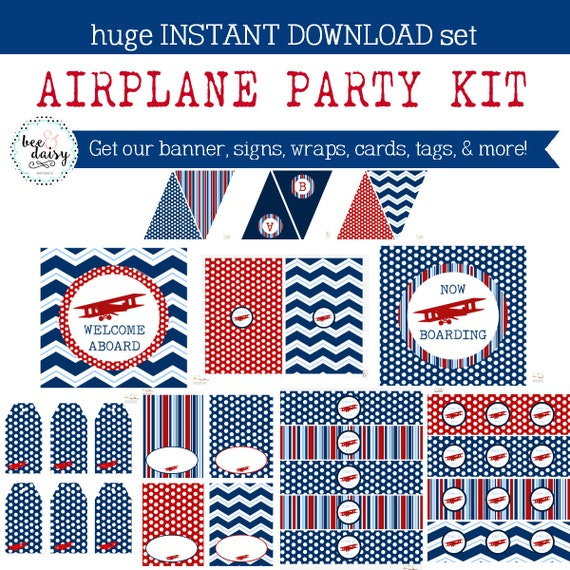 Vintage Airplane Party Printables Airplane Birthday Airplane: Airplane Birthday Party, Airplane Baby Shower, Airplane