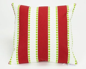 Modern Christmas Stripes and Dots Throw Pillow Cover - 14 inch