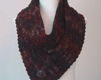 Long Scarf in Earth Colors - Hand Crocheted - Soft Acrylic Yarn - Handmade - Convertable-Infinity Scarf
