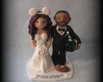Wedding Cake Topper, Custom Cake Topper, Bride and Groom, Sports, Mickey Mouse Ears, Polymer Clay, Wedding/Anniversary Keepsake