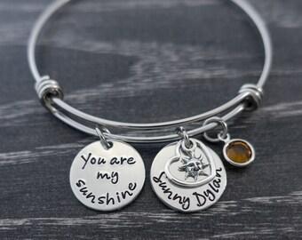 You are My Sunshine / Wire Bangle Bracelet / My only sunshine / Sunshine Bracelet / Mother Jewelry / Personalized Bracelet