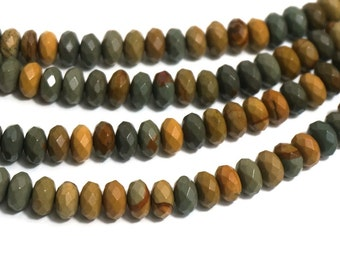 Wildhorse Picture Jasper 8mm x 5mm rondelle, Faceted Gemstone Beads, full & half strands available   (1177S)