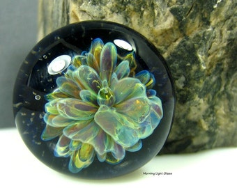 24mm Lampwork Cabochon - Black Floral - Jewelry Making Supply - Handmade Bezel Cab