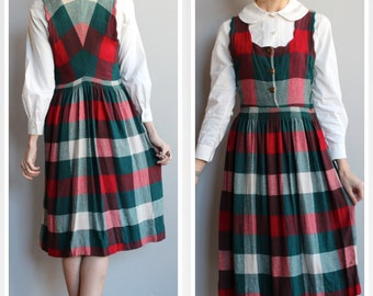 1940s Pinafore Dress // Winter Wool Pinafore Dress // vintage 40s dress