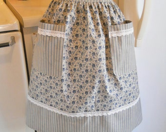 Old Fashioned Half Apron in Navy Floral Ticking and Lace MADE TO ORDER