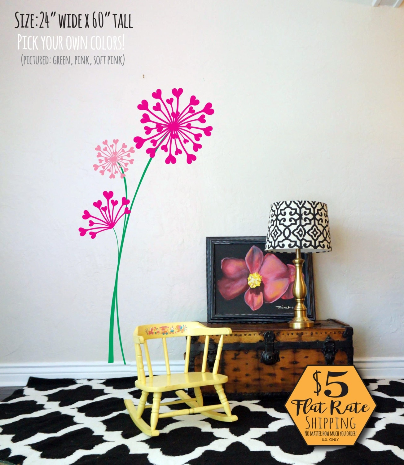DANDELION Wall Decal floral wall decals garden wall decal