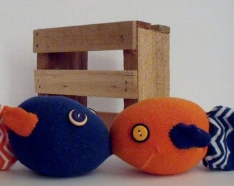 Kissing Fish Made From an Orange and Blue Sock with a Magnet to Help the Fishies Kiss and Orange and Blue Buttons for the Eyes, Sock Fish