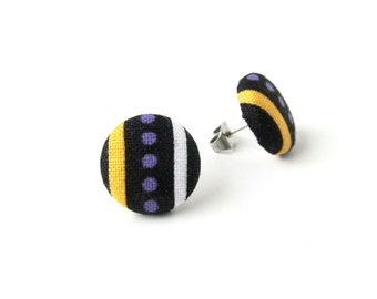 Funky fabric earrings - tiny button earrings - stud earrings purple yellow black stripes bright happy