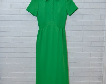 Vintage Maxi Kelly Green Collared Short Sleeved Dress