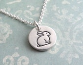 Teeny Tiny Rabbit Necklace, Tiny Bunny Necklace, Fine Silver, Sterling Silver Chain, Ready To Ship