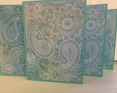 Blue Paisley Cards, Paisley Stationery, Paisley Notes, Blue Paisley Note Cards, Set of 6 Cards and Envelopes