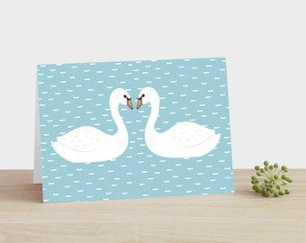 Swans Greeting Card - wedding anniversary engagement happy birthday new baby mothers fathers day thank you blue white baby blue marriage