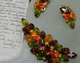 JULIANA Fruit Salad Rhinestone Leaf Brooch & Earrings Set
