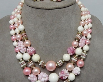 PINK 3 Strand GIVRE Art Glass & Pearl Bead Choker Necklace and Earrings Set
