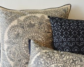Hand Painted Madhubani Art Pillow , Hand Painted Black and Beige Pillow Cover , Natural Khadi Silk and Black hand Painted Cushion Cover