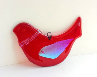 New! Dark Red Dove Christmas Ornament - Fused Glass Dove Suncatcher - Red Bird Ornament - Dove Ornament with Dichroic Glass Accents