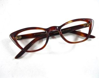 Vintage cat eye glasses. tortoise shell plastic eyeglass frames. 1950s new old stock/NOS/deadstock. Made in France.