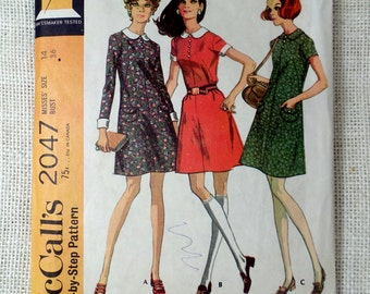 Vintage Pattern McCall's 2047 1960s A Line Dress Twiggy Peter Pan shift sack bust 36 french darts Career