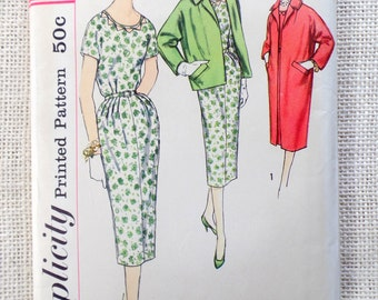Simplicity 2424 Bust 33 half size 1950s coat Sheath dress Wiggle Bombshell Jacket