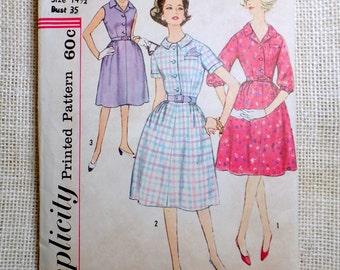 Vintage Pattern Simplicity 4003 1960s house dress A Line Full skirt Belted shirtwaist Bust 35 Full skirt Slenderette