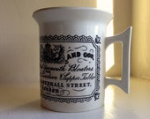 1913 Batty and Co. Potted Yarmouth Bloaters . London England . Ironstone Porcelain Cup . Black & White Transferware Advertising . Farmhouse
