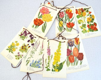 Spring Flower Bunting - from book and buttons - upcycled -B-