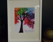 "Colorful Family Tree Framed Print with ""Families are like branches on a tree, we grow in different directions, but our roots remain as one."""