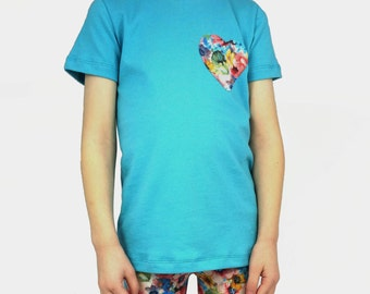 SALE// Girls toddler t-shirt, organic girls clothes, blue with floral heart, ready to ship