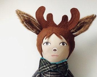 Deer doll - boy doll - Young Buck - artdoll - animal doll