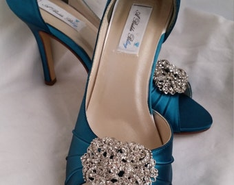 Wedding Shoes Teal Bridal Shoes with Sparkling Vintage Inspired Rectangle Crystal Brooch Design -100 Additional Colors To Pick From