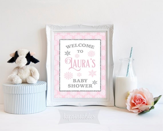 baby shower welcome sign pink and silver glitter sign winter baby
