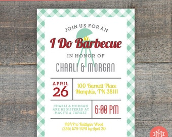 Co-Ed Wedding Shower Invitation Printable File, Birthday Party, Bachelorette Party, Bridal Shower, Print at Home, Barbecue Party