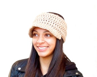 Crochet Headband With Brim, Visor Headband, Ear Warmer With Brim, Newsboy Headband