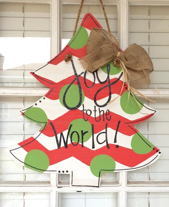 Christmas tree wooden door hanger by arhjohnston on etsy