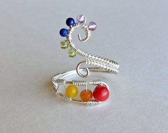 Rainbow Gemstone Ring, Adjustable Spiral Ring, Colorful Gemstone Wire Ring, Adjustable Wire Wrapped Gemstone Ring