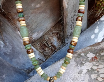 Tropical Jade and Coral Sea Turtle Necklace
