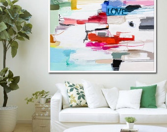 LARGE Abstract Painting // Colorful Abstract Art Print // Love // Word Art // Giclée Print of Original Painting // Inspirational // Canvas