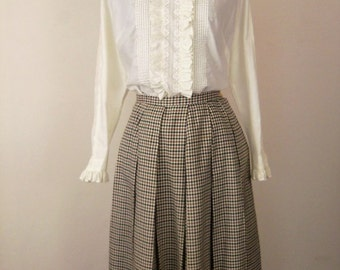 Vintage 60's Skirt Pleated Brown, Black, Green, White Plaid Size XS