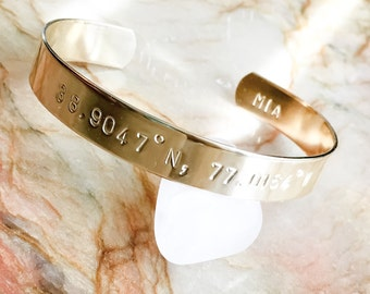 Custom Coordinates Bracelet, Latitude Longitude Bracelet, Coordinates Cuff Bracelet, Longitude Latitude Cuff, Wanderlust, Traveler, GPS