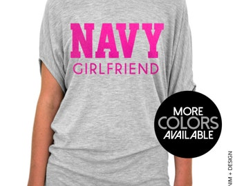 Navy Girlfriend Shirt - Slouchy Tee (Small - Plus Sizes) - Pink Ink