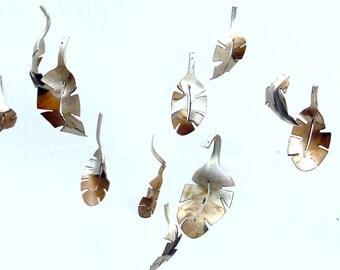 Dozen Falling Leaf Windchime Tree Branch Spoon Leaves, Old Silverware, Silver Vintage Flatware, Upcycled Repurposed Kitchen, Pinterest Etsy