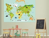 World Map - Peel and Stick Fabric Wall Decal - Wall Sticker - Removeable and Reuseable