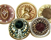 Antique Buttons 5 Velvet Perfume Tinted Metal Lovely