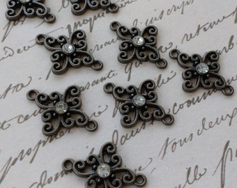 8 pretty gun metal charm connectors with crystals destash lot supplies