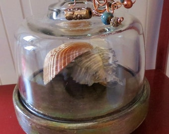 Upcycled Glass and Wood Cloche With Copper Patina